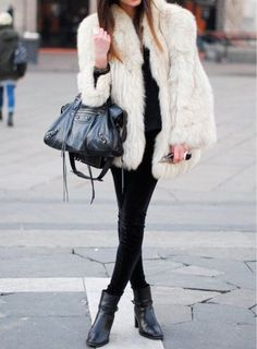 winter whites on a black-out | fur