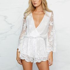 Item Type: Jumpsuits & Rompers - Gender: Women - Style: Fashion - Pattern Type: Patchwork - Brand Name: AIEnny - Decoration: Lace - Type: Playsuits - Model Number: - Fabric Type: Broadcloth - Material: Cotton - Fit Type: Regular Trendy Fashion, Boho Fashion, Fashion Outfits, Long Sleeve Playsuit, White Playsuit, Affordable Clothes, Summer Trends, Dress Me Up, Pattern Fashion