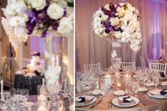 9 Ritz Carlton Laguna Niguel Wedding Reception Purple Flowers Silver Details