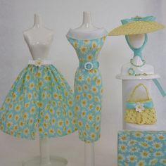 Handmade Vintage Barbie/Silkstone Clothes by Roxy-OOAK Daisy Dress - 11-pcs #FITSVINTAGEREPRODUCTIONSANDSILKSTONEBARBIE