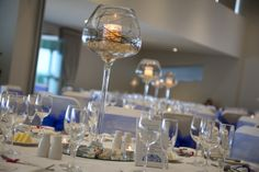 Beautiful beach themed centrepieces by @Beedazzled Events at The Surf Club Mooloolaba