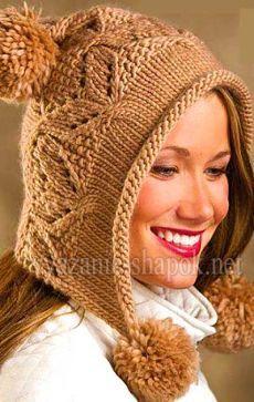 Оригинальная зимняя шапка с помпоном спицами |