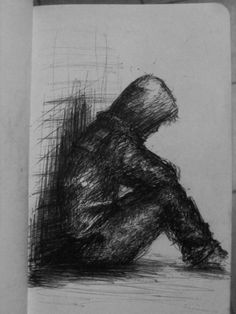 Small Drawing Lonely Guy by riptide by tallinriptide Creepy Drawings, Dark Art Drawings, Pencil Art Drawings, Heartbroken Drawings, Sad Sketches, Easy Disney Drawings, Drawings Pinterest, Graphite Art, Canvas Art