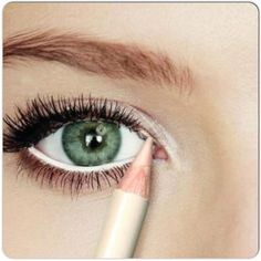 Try a pearl white eyeliner to make your eyes look bigger and brighter.