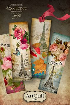 PARIS BOOKMARKS - Digital Collage Sheet Printable Download Ephemera Vintage Paper Craft Images on Etsy, $4.60