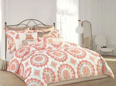 cynthia rowley light blue orange red vintage lacy doilies medallions pattern duvet cover and shams 3pc