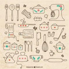 Desenhos utensílios de cozinha