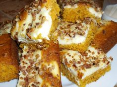 Pumpkin Cream Cheese Bars ~~~ What a perfect treat on a perfect fall afternoon! This will be a great pumpkin dessert for your Thanksgiving meal. Just Desserts, Delicious Desserts, Dessert Recipes, Bar Recipes, Fall Desserts, Cheese Recipes, Dessert Ideas, Cookie Recipes, Yummy Food