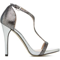 ShoeDazzle Sandals-Dressy - Single Sole Karyn Womens Silver ❤ liked on Polyvore featuring shoes, sandals, sandals-dressy - single sole, silver, t strap shoes, t strap sandals, party sandals, dressy shoes and party shoes