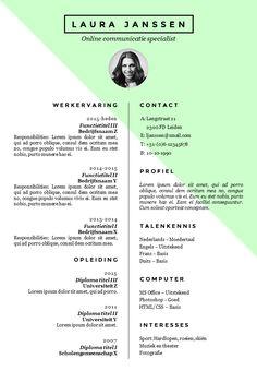CV sjabloon in Word. 3 verschillende kleuren versies in 1. http://deleydsche.nl/product/cv-sjabloon-24