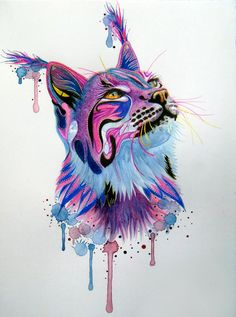 lynx purple and pink, painting by by lorine angelmann