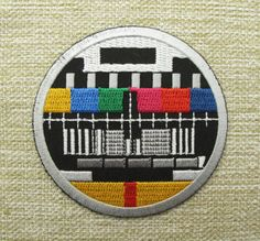 RETRO-TV-TEST-CARD-Round-Iron-On-Embroidered-Patch