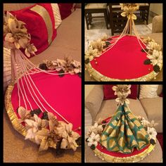 Trousseau packing services at wrapping bells by Anjali Bhagnani Customised brocade trays for sarees/suits/lehengas #greenpinkandgold#customized#gift#wedding#trousseau#indain#flowers#colours For inquiries drop us an email on a_bhagnani@hotmail.com or contact us on 9833954413 Follow us on www.facebook.com/wrappingbells Instagram Wrappingbells/anjalibhagnani