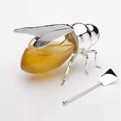 Honey Bee spoon and glass honey container by Godlinger