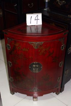Hand painted elm wood corner cabinet from Beijing, China
