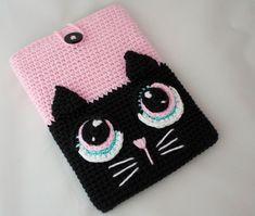 Funda Crochet Kindle / estuche para celular de gato crochet