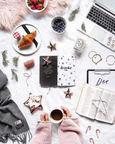 Gorgeous Christmassy Flatlay With A Side Of Coffee And Croissant