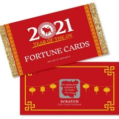 Chinese New Year Scratch-Off Fortune Cards includes 22 Year of The Ox party game cards with unique sayings on each card. Chinese New Year Gifts, Chinese New Year 2020, Happy New Year Images, Happy New Year 2020, Fortune Cards, Scratch Off Cards, Fun Party Games, Big Dot Of Happiness, New Year's Crafts
