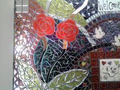 Mosaic Red Rose Tile Wall Hanging...Colorful...Exotic Mirror