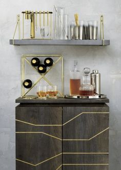 Upgrade your home organization with modern storage cabinets. Shop standing and mounted cabinets for the entryway, bedroom, living room and bar. Layout Design, Home Bar Accessories, Bar Tray, Mid Century Bar, Home Bar Decor, Bar Shelves, Mounted Shelves, Open Shelving, Metal Building Homes