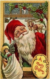 vintage christmas postcard, vintage printable santa, old merry christmas card, santa toys reindeer image, free christmas digial graphics