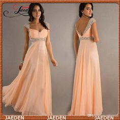Discount Evening Dress Cap Sleeve Long Prom Dress In Stock Sheath V-neck Chiffon Bridesmaids Orange Color In Stock For Size 2,4,6,8,10,12,14 Online with $65.96/Piece | DHgate
