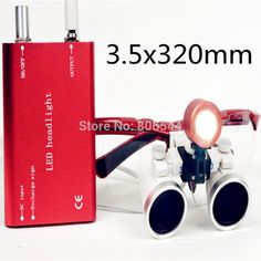 54.29$  Buy here - http://alipga.shopchina.info/go.php?t=2021646965 -  2017 hot selling CE Dental Surgical Medical Binocular Loupes 3.5X 320mm + LED Head Light Lamp S+R RED RDL-025 54.29$ #aliexpresschina