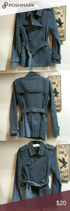 Vintage Pea Coat Blue 100% heavy cotton pea coat, denim blue (but not denim, it's a heavy twill). 17.5 inches armpit to hem. Excellent condition, but variations in the blue add to its vintage quality.  Love this coat, but I have too many. Buttons are gold / bronze color Old Navy Jackets & Coats Pea Coats