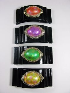 Vintage Lot Of 4 Plastic Hair Clips Brooch With Colored Cabochon Black 90's
