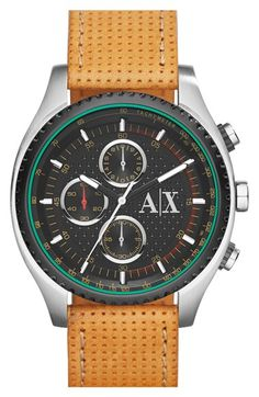 AX Armani Exchange Chronograph Perforated Leather Strap Watch, 45mm available at #Nordstrom