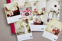Idea:  make a envelope with calendar on front, place all pictures from that month in the envelope.