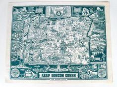 vintage Oregon map print  history souvenir  by forrestinavintage, $14.00