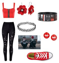 21 pilots outfit by emo69 on Polyvore featuring polyvore fashion style WearAll WithChic Converse Moschino clothing