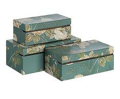 Set de 3 cajas de ordenación Alanis - verde oscuro