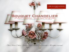 White Bouquet Chandelier, with roses in tempera  White tempera,  roses and large bow, Rose Bouquet Chandelier by GBS. Central bow, 6 lights, in wrought iron and hand-decorated. Made in Italy.  Very high hand-crafted quality. GBS, wrought iron in Florence since 1925