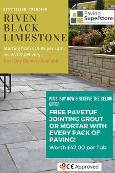 Our Most Popular Product This Year! Riven Black Limestone, weathering to a Mid Grey colour, perfect for a contemporary but slightly traditional look! Limestone Paving, Paving Slabs, Traditional Looks, Garden Design, Latest Trends, Patio, Popular, Colour, Contemporary