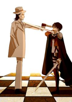 Chess Plays (Attack on Titan)-Levi and his uncle Kenny Ackerman Kenny Ackerman, Levi Ackerman, Attack On Titan Funny, Attack On Titan Anime, Levihan, Ereri, Manga Anime, Otaku, How To Play Chess