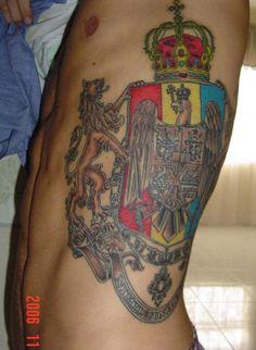 Romanian coat of arms tattoo on side Side Tattoos, Tattoos For Guys, Cool Tattoos, Tatoos, Full Body Tattoo, Arm Tattoo, Crest Tattoo, Pirate Tattoo, Call Art
