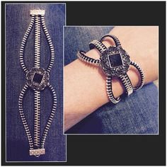 Zipper Bracelet Black/Silver by laststitchdesigns on Etsy