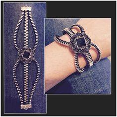 Zipper Bracelet Black/Silver by laststitchdesigns on Etsy