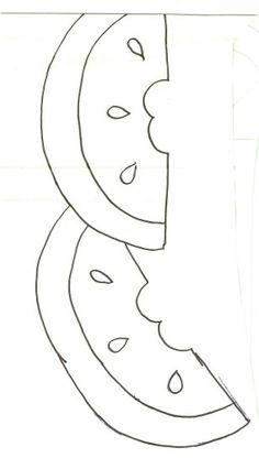 Barrado de melancia Applique Templates, Applique Patterns, Applique Designs, Quilting Designs, Quilt Patterns, Applique Fabric, Felt Fabric, Border Design, Pattern Design
