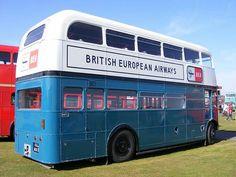 BEA British European Airways liveried Routemaster bus London Transport, Mode Of Transport, Public Transport, British European Airways, Routemaster, Bus Terminal, Cargo Airlines, Double Decker Bus, Bus Coach