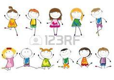 bambini stilizzati: Bambini piccoli e sorridere musica e balli