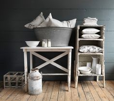 Salvaged galvanised metal:  bottle crate, tin bath, milk churn.