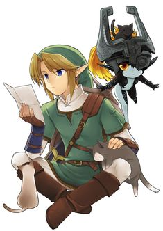 The cats did seem to love Link a real lot, huh? The dogs did too. I would pick them up all the time and run around with them. Come on, even heroes can have places in their hearts for animals.