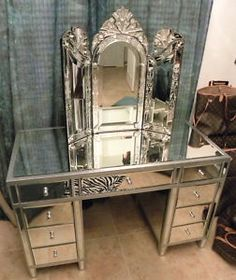 Mirrored furniture pieces are so in. I would find a different vanity mirror.this one seems too goddy. Mirrored Vanity Desk, Vanity Room, Mirrored Furniture, Vanity Set, Closet Vanity, Dresser Vanity, Glass Vanity, Vanity Ideas, Dressing Table Vanity