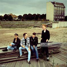 Depeche Mode, group portrait, Berlin, July 1984, L-R Martin Gore, Dave Gahan, Alan Wilder, Andrew Fletcher.