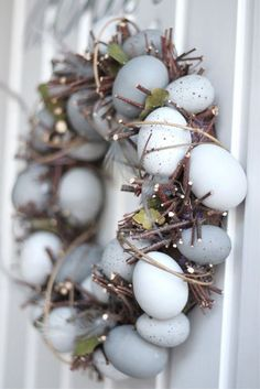 Natural, grey egg wreath for Easter//: