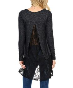 Another great find on #zulily! Charcoal & Black Lace Split-Back Tunic #zulilyfinds