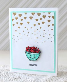 Li'l Buck's Creations: A Bowl Full of Lovin' Gold Embossed Hearts Baking Love Sweet Stamp Shop